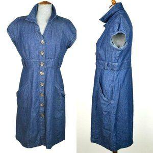 Dark Wash Button Down Denim Shirt Dress Pockets
